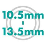 直径サイズ 10.5mmから13.5mm