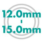 直径サイズ 12.0mmから15.0mm