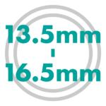 直径サイズ 13.5mmから16.5mm